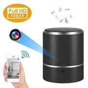 Alppq 180 Girar Lente y detección de Movimiento WiFi Cámara Oculta Altavoz Bluetooth 1080P Cámara espía (Color : +32G Memory Card)