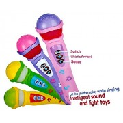 Funny Teddy Musical Microphone/mike toy with Lights and recorded music for kids - Random Color