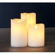 Set di 3 candele di cera LED collezione Sara exclusive - color mandorla