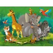 Jungle Animals , Photo Murale Intissée, 360x270 Cm, 4 Parts
