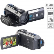 Somikon 4K-UHD-Camcorder mit Panasonic-Sensor, WLAN, App, HD mit 120 B/Sek.