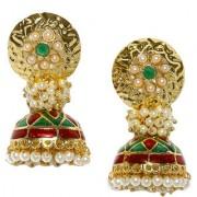 Rubans Gold Toned Enamel Handpainted Jhumka Earrings