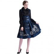 BLESSUME Steampunk Vestido JSK Bordado Lolita corsé Capa de Vestir para Mujer, Azul (Blue Dress), L