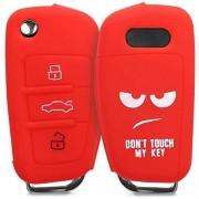 kwmobile Funda Compatible con Audi Llave de Coche Plegable de 3 Botones Carcasa Protectora Suave de Silicona Don't Touch my Key