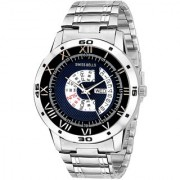 Svviss Bells Original Blue Dial Silver Steel Chain Day and Date Multifunction Chronograph Wrist Watch for Men - SB-1023