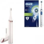 Комплект Дамски тример тип писалка за корекции за лице и тяло Philips HP6393/00 + Електрическа четка за зъби Oral-B Pro 600, Бял/Син