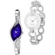 Varni Retail New Round Silver Chain And Leaf Blue Dial Silver Chain 2 Combo Watch For Girls And Women