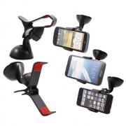 Univerzális csipeszes autós telefon tartó szélvédőre tapadókorongos 3,5-5inch 9cm-ig