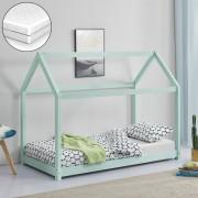 [en.casa] Dětská postel AAKB-8710 mátově zelená 80x160 cm s matrací a roštem