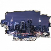 Stickers Muraux Stickers Trompe l'oeil 3D - New york nuit