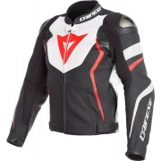 Dainese Avro 4 Motorcykel läder jacka Svart Vit Röd 60