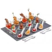 Set servire aperitive Premium cu tava din Ardezie, AJ001228, 17 Piese