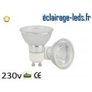 Ampoule led GU10 5w COB blanc chaud 3000K 230v AC ref a110-1