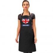 Bellatio Decorations Engeland hart vlag barbecueschort/ keukenschort zwart - Feestschorten