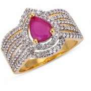 Tistabene Retails Contemporary Colored Stones Stylish Designer Two Tone Plated Casual Ring For Women and Girls (RI-0822)