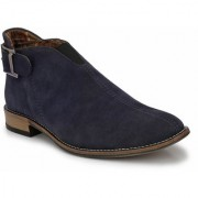 Prolific Blue Suede Buckle Flat Boots