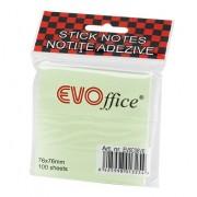 Notes autoadeziv EVOffice 75x75 mm, 100 file, verde