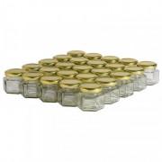 Lubéron Apiculture 35 pots verre hexagonaux 125g (116 ml) avec couvercle TO 48 - Couvercle - Doré