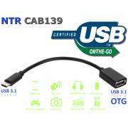 NTR CAB139 USB C dugó - USB A aljzat OTG adatkábel - fekete