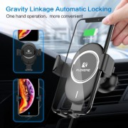 Incarcator auto wireless tip suport alb incarcare rapida 10W 2A pana la 6.5 inch rotatie sferica 360 grade FLoveme