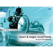 ZIONS HOURS AND WAGES RECORD BOOK MEDIUM UP TO 20 EMPLOYEES