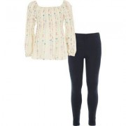 River Island Mini girls shirred top and leggings outfit