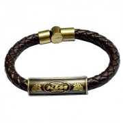 Men Style Biker Design MotorCycle Rider Gold And Brown Stainless Steel And Leather Round Bracelet For Men and Boys