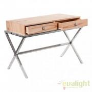 Birou design rustic din lemn masiv mindi cu 2 sertare VANNES 21511 VH