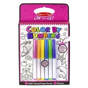 Maven Gifts: Melissa & Doug Color by Numbers 2-Pack - Blue Coloring Book with Pink Coloring Book - 24 Unique Picture Boards and 12 Colored Markers - Ages 3+