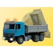 Construction Equipment - Dump Trucks (Working Model 14-16V AC/DC) -- Mercedes 3-Axle Dump Truck w/LED Lights & Moving Dump Bed