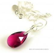 "Bijou Gio Design™ Zilveren Ketting met Swarovski Elements Pear-Shaped ""Ruby"""