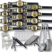 Wrestling Action Figure Gear Special Deal: Set Of 12 Figure Belts (Series 1) Plus 5 Accessories