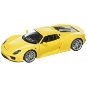 New 1:24 W/B WELLY COLLECTION - YELLOW PORSCHE 918 SPYDER HARDTOP Diecast Model Car By Welly