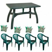 Set gradina masa 80x140 cm cu 4 scaune Carnaval, culoare verde, 4 perne scaun, King, B001111