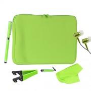 Hype 6in1 Combo Kit - неопренов калъф, поставка, слушалки и два стайлуса за таблети до 10.2 инча (зелен)