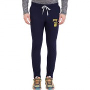 Cliths Men's Navy Blue Cotton Printed Track Lower