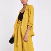 River Island Womens Yellow ruched three quarter sleeve blazer (Size 6)