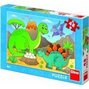 Puzzle Dino Toys Dinozauri prietenosi 48 piese Multicolor