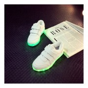 Kids Boys Girls LED Luminous Shoes Fashion Flashing USB Rechargeable Sneakers White