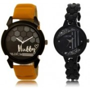 LOREM LR32-221 Stylish Black Round Boy's & Girl's Metal Bracelet & Leather Watch - For Men & Women