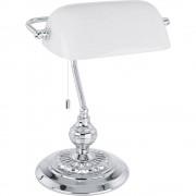 Stolna svjetiljka Banker Traditional EGLO halogena E27 60 W 90968 krom, bijela