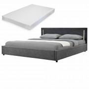 Двойно легло Corium®, Серия My.bed с вертикално LED-es осветление и матрак, 140x200cm, с подматрачна рамка, Изкуствена кожа, Сив/Тъмносив