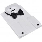 vidaXL Camisa smoking plissada com botões de punho e laço XL branco