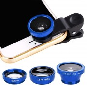Universal 3 In1 Fisheye Wide Angle Macro Camera Lens Kit Clip On For Mobile Cell Phone