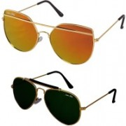 Silver Kartz Aviator Sunglasses(Golden, Green)