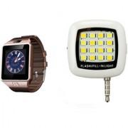 Zemini DZ09 Smart Watch and Mobile Flash for SAMSUNG GALAXY S 5 SPORT(DZ09 Smart Watch With 4G Sim Card Memory Card| Mobile Flash Selfie Flash)