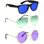 Elligator Aviator, Wayfarer, Round Sunglasses(Blue, Green, Violet)