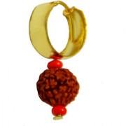 Men Style Medium Gold Plated Rudraksha Bali Gold Wood Round Hoop Earring For Men And Boy