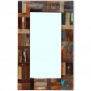 vidaXL Espelho em madeira recuperada maciça 80x50 cm