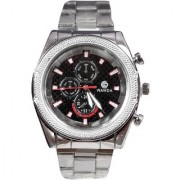 Men Black Big Dial With sliver starp Analog Party Boy Watches